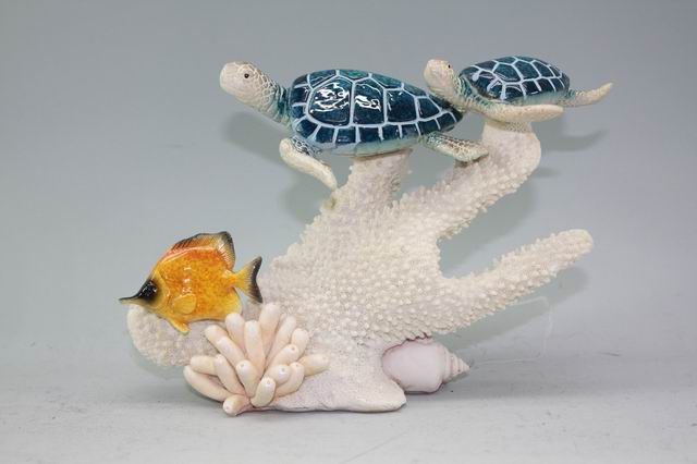 Polyresin Turtles and Fish on Coral
