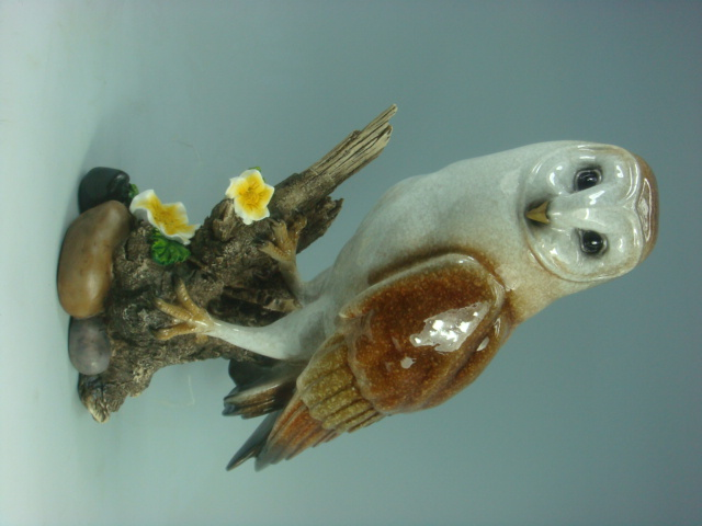 Polyresin Owl Standing on Branch